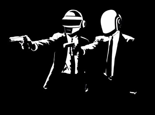 DAFT PUNK - FICTION - pulp fiction style art canvas print - self adhesive poster - photo print